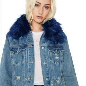 Dolls Kill Blue Fur Collared Denim Jacket